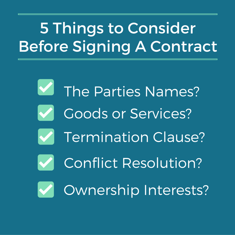 Before Signing a Contract Blog